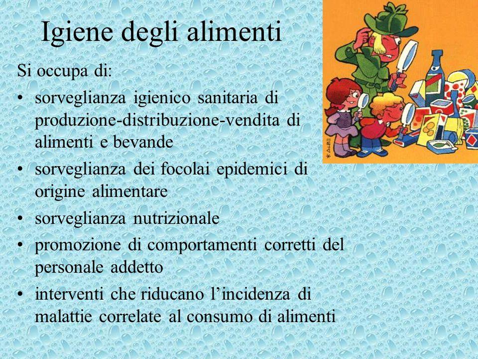 Igiene degli alimenti Si occupa di: