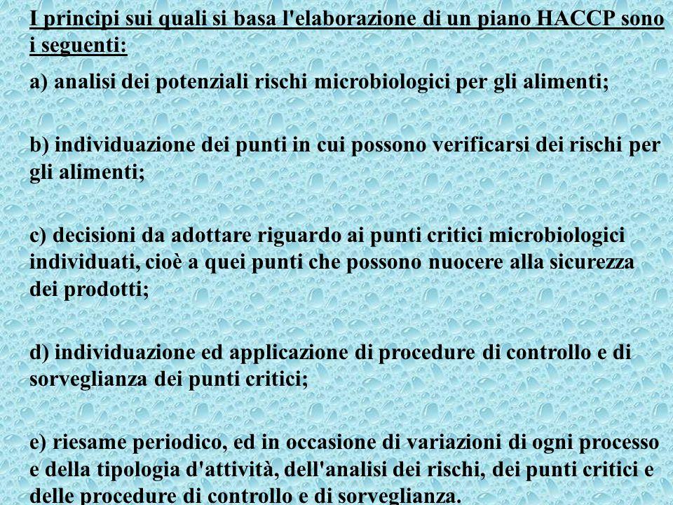 I principi sui quali si basa l elaborazione di un piano HACCP sono i seguenti: