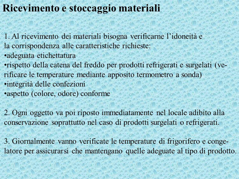 Ricevimento e stoccaggio materiali