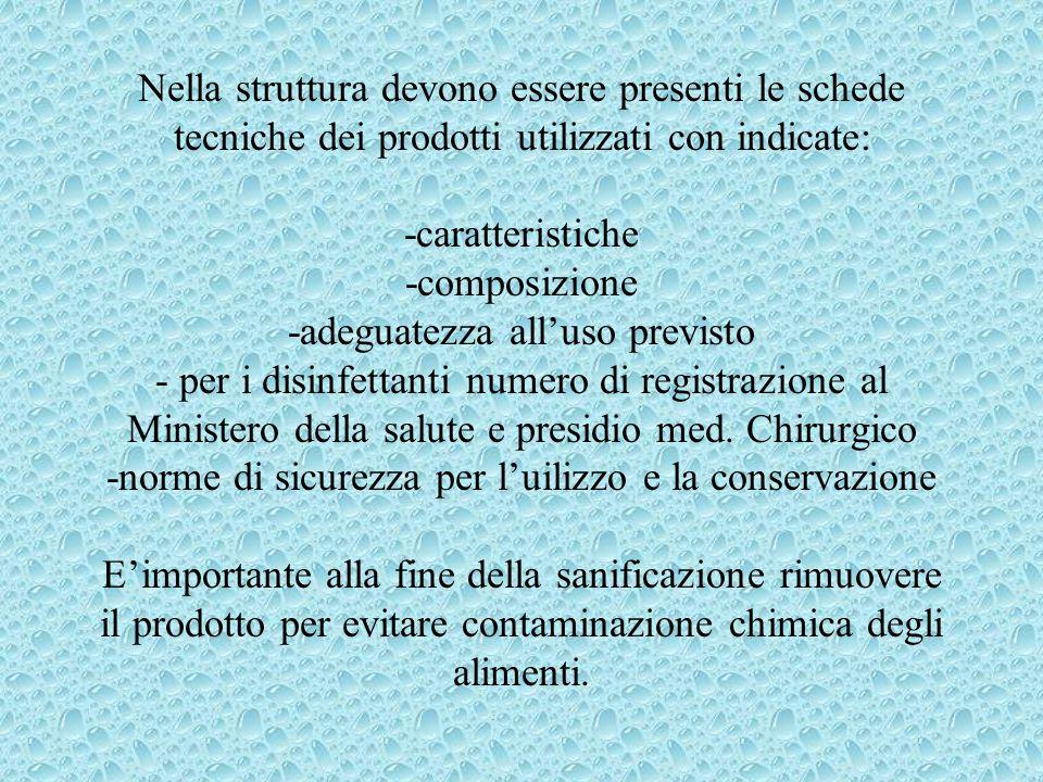 Nella struttura devono essere presenti le schede tecniche dei prodotti utilizzati con indicate: -caratteristiche -composizione -adeguatezza all'uso previsto - per i disinfettanti numero di registrazione al Ministero della salute e presidio med.