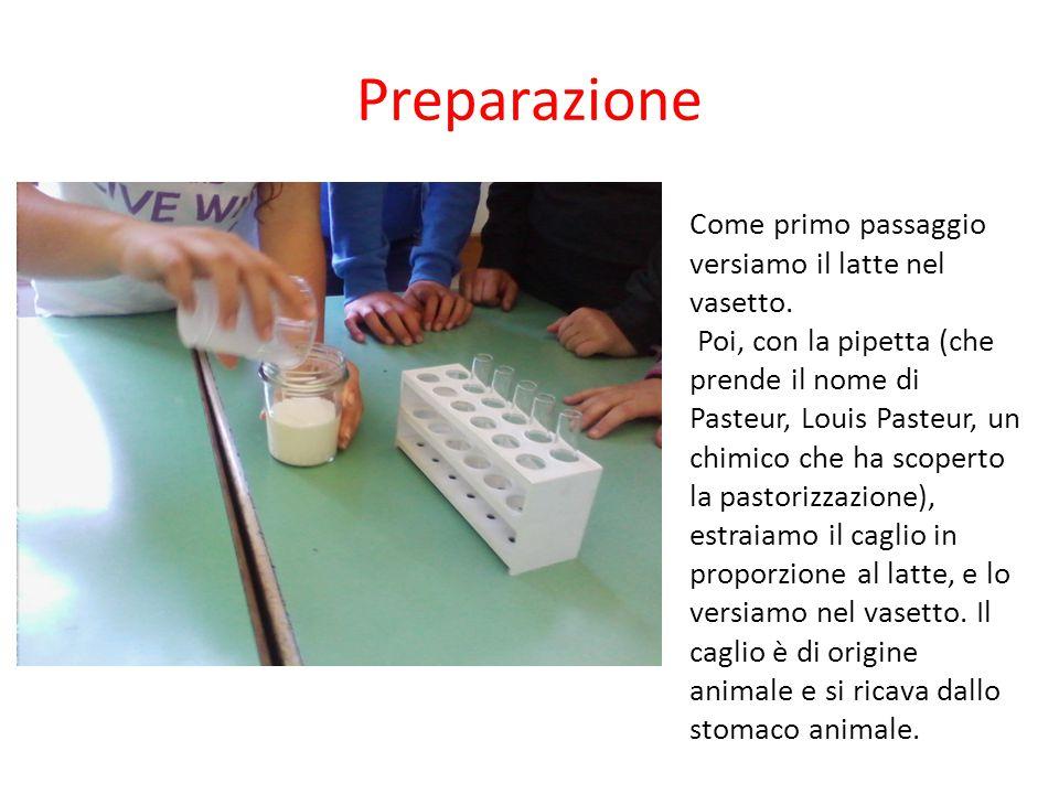 Preparazione Come primo passaggio versiamo il latte nel vasetto.
