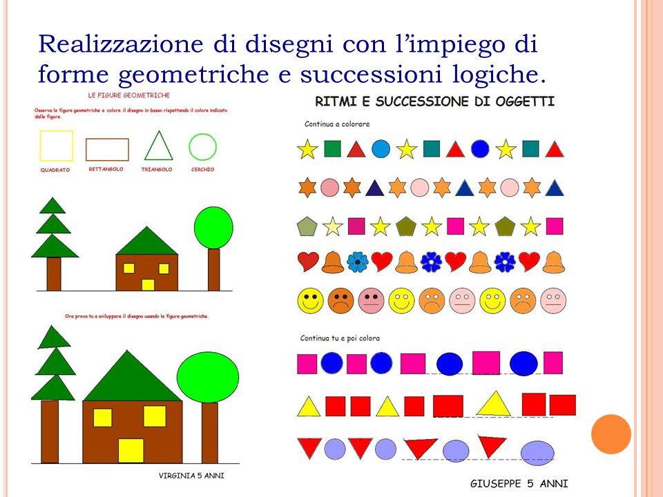 Realizzazione di disegni con l'impiego di forme geometriche e successioni logiche.