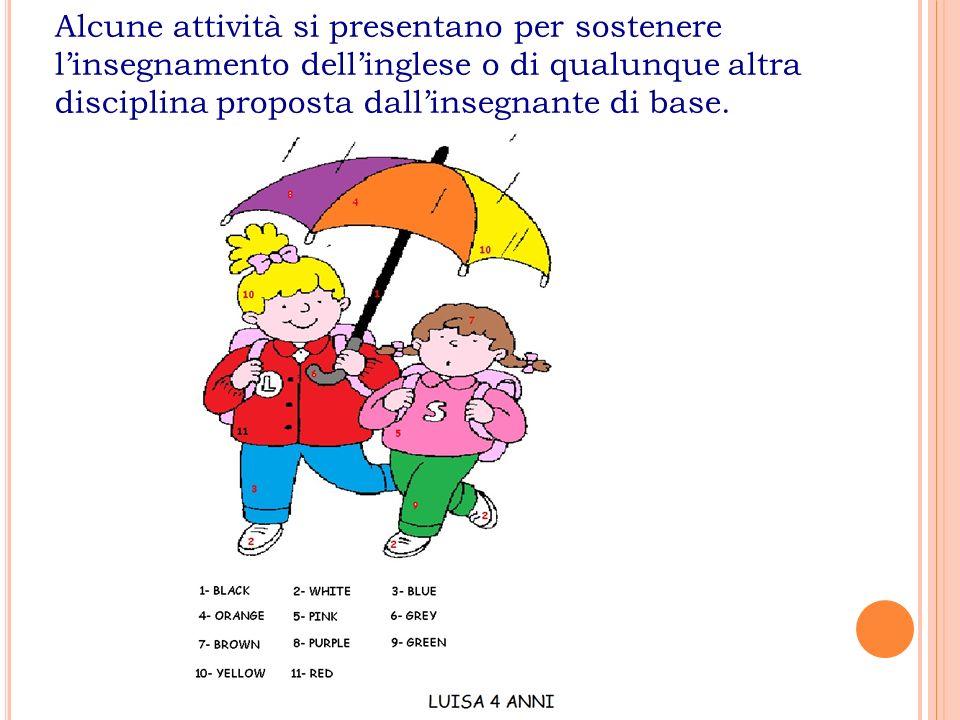 Alcune attività si presentano per sostenere l'insegnamento dell'inglese o di qualunque altra disciplina proposta dall'insegnante di base.