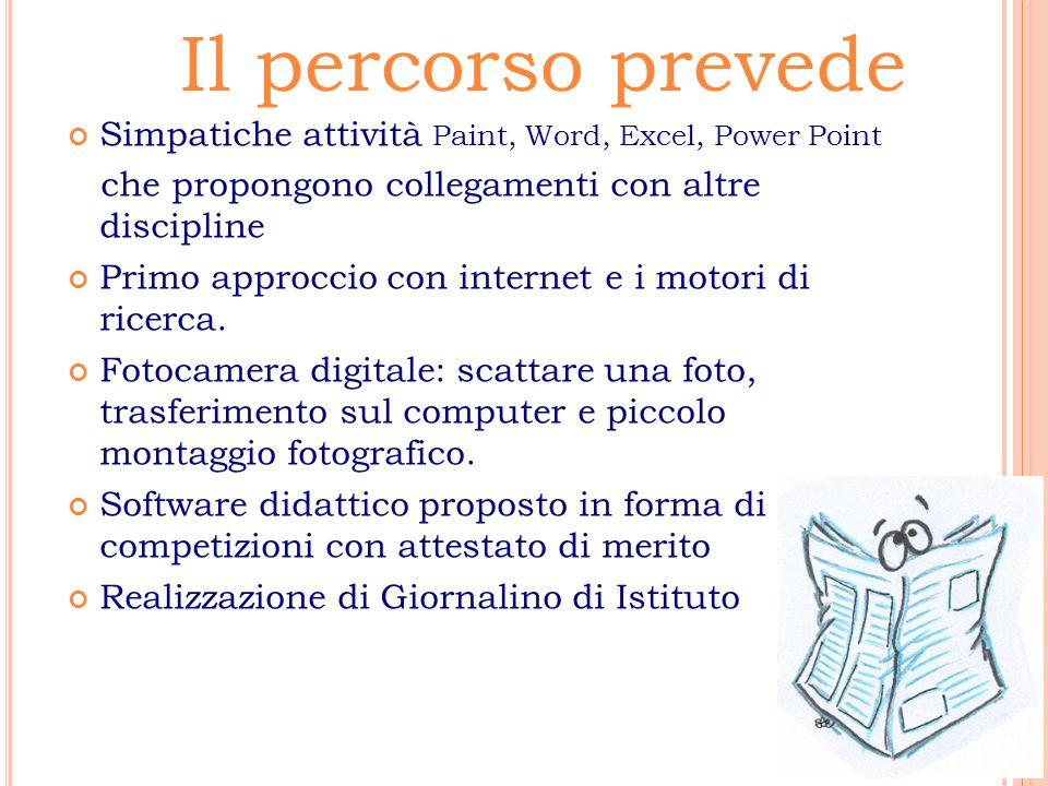 Il percorso prevede Simpatiche attività Paint, Word, Excel, Power Point. che propongono collegamenti con altre discipline.