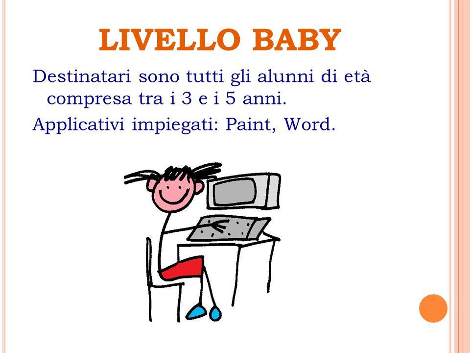 LIVELLO BABY Destinatari sono tutti gli alunni di età compresa tra i 3 e i 5 anni.