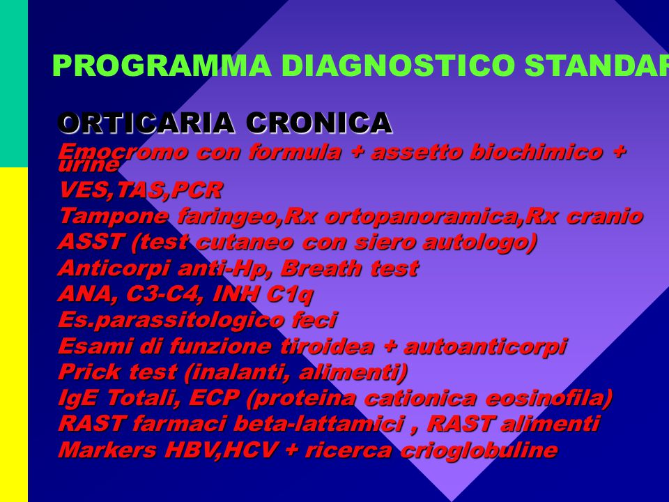 PROGRAMMA DIAGNOSTICO STANDARD