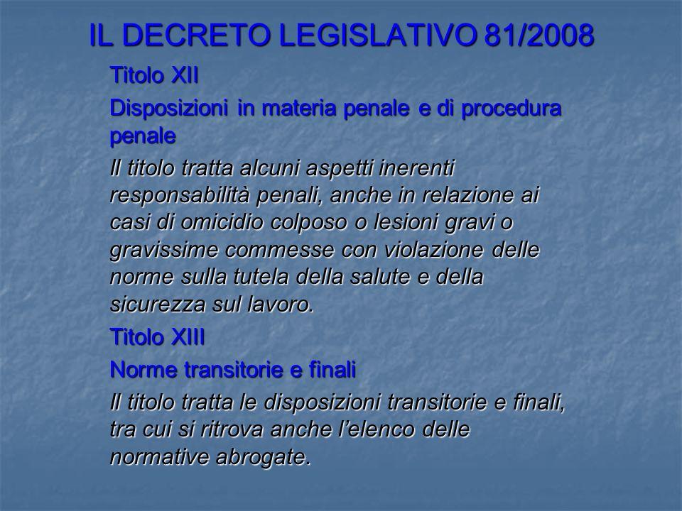 IL DECRETO LEGISLATIVO 81/2008