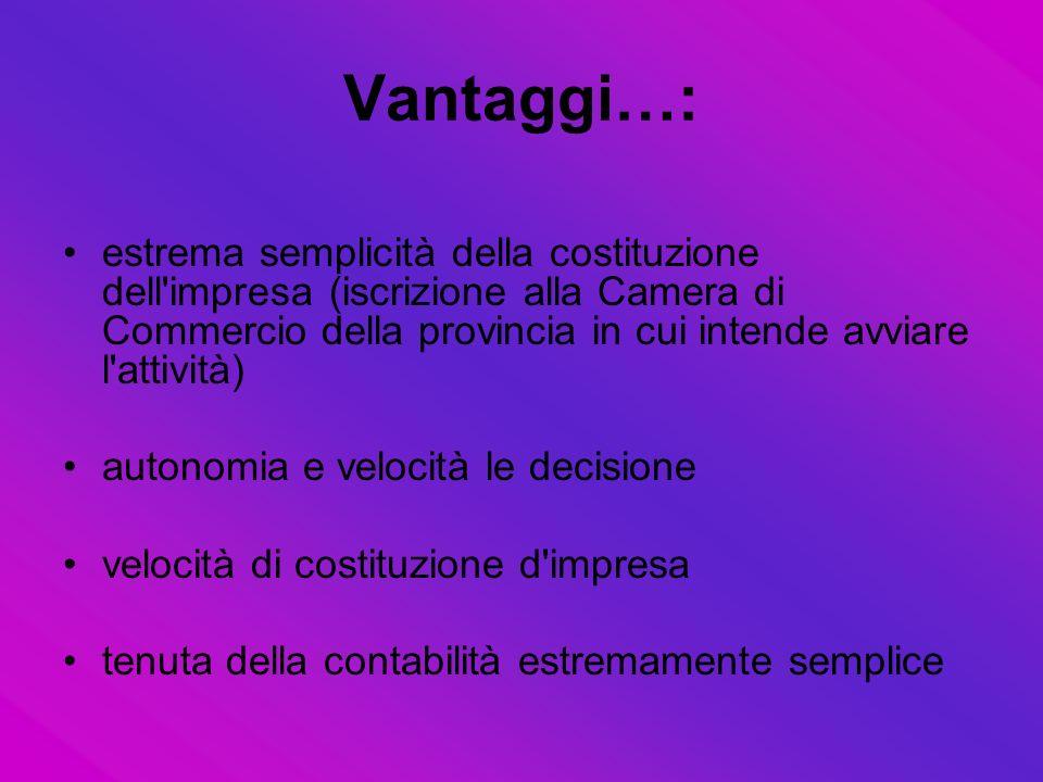 Vantaggi…: estrema semplicità della costituzione dell impresa (iscrizione alla Camera di Commercio della provincia in cui intende avviare l attività)