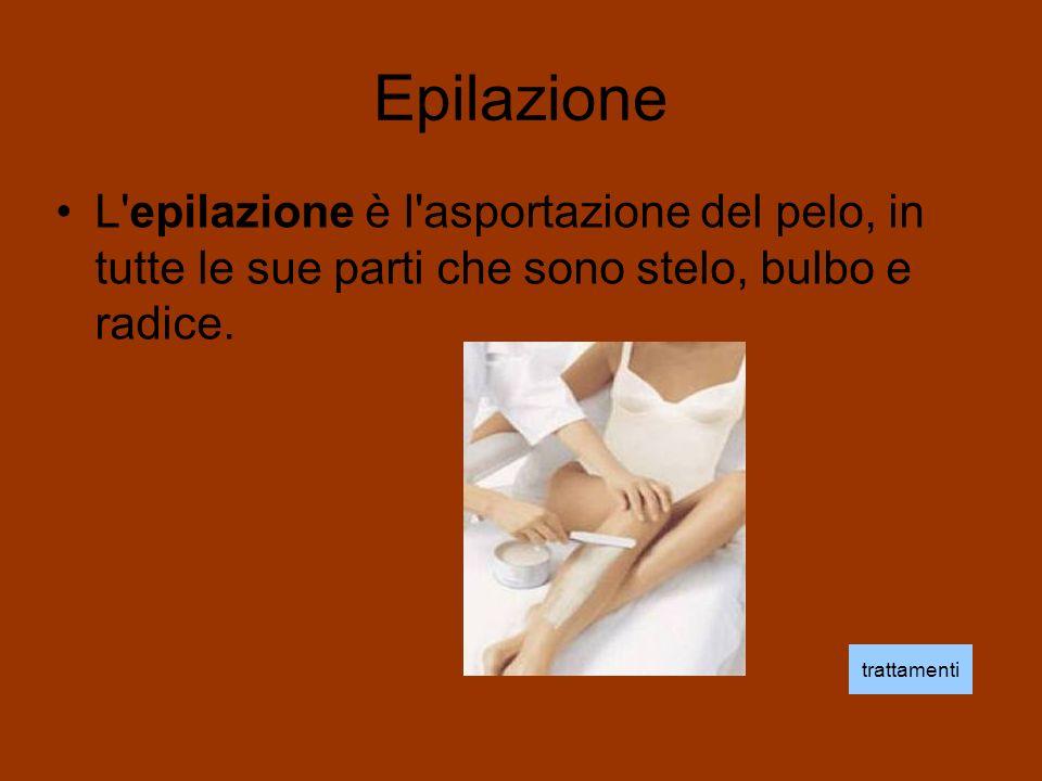 Epilazione L epilazione è l asportazione del pelo, in tutte le sue parti che sono stelo, bulbo e radice.