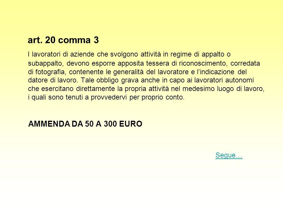 art. 20 comma 3