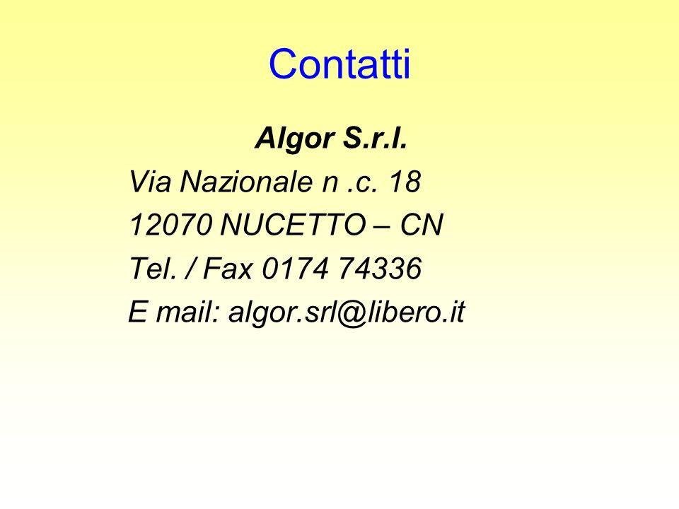 Contatti Algor S.r.l. Via Nazionale n .c. 18 12070 NUCETTO – CN