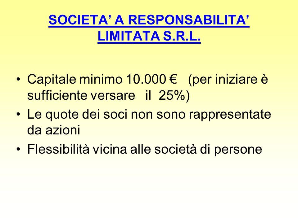 SOCIETA' A RESPONSABILITA' LIMITATA S.R.L.