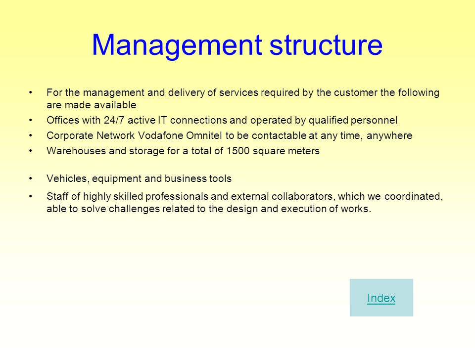 Management structure Index