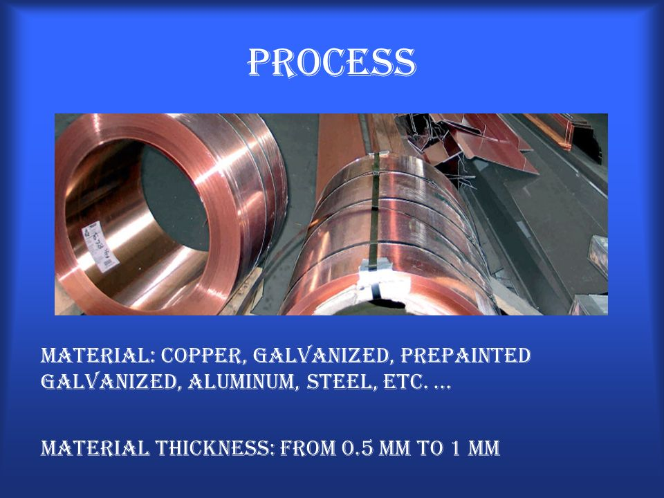 Process Material: Copper, galvanized, prepainted galvanized, aluminum, steel, etc.