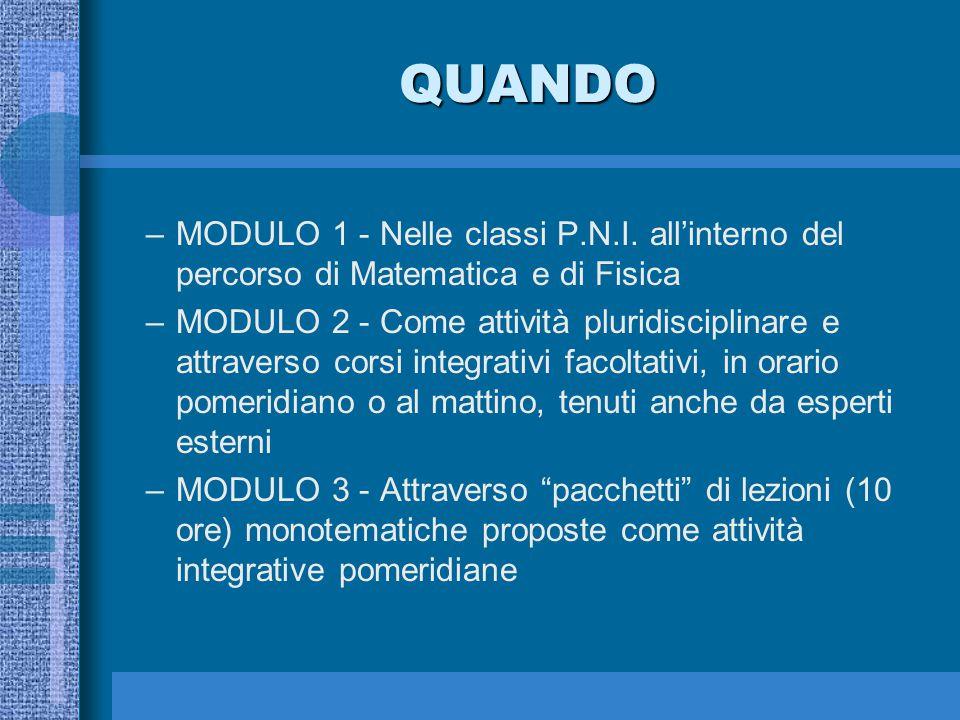 QUANDO MODULO 1 - Nelle classi P.N.I. all'interno del percorso di Matematica e di Fisica.