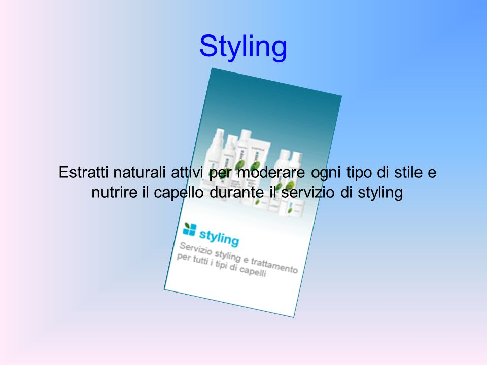 Styling Estratti naturali attivi per moderare ogni tipo di stile e nutrire il capello durante il servizio di styling.