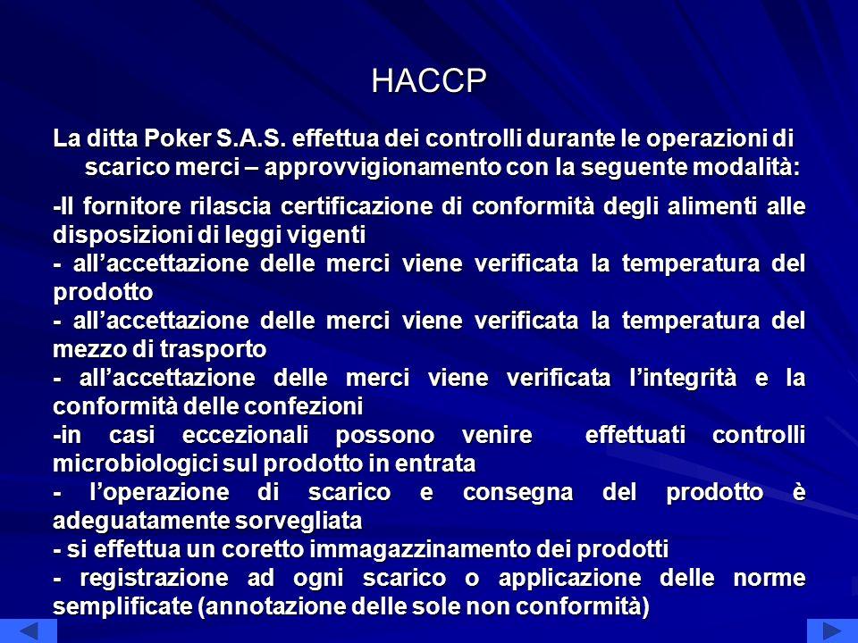 HACCP La ditta Poker S.A.S. effettua dei controlli durante le operazioni di scarico merci – approvvigionamento con la seguente modalità: