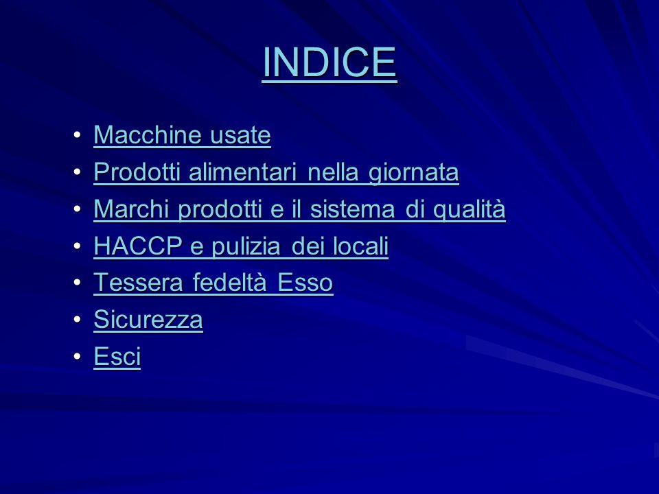 INDICE Macchine usate Prodotti alimentari nella giornata