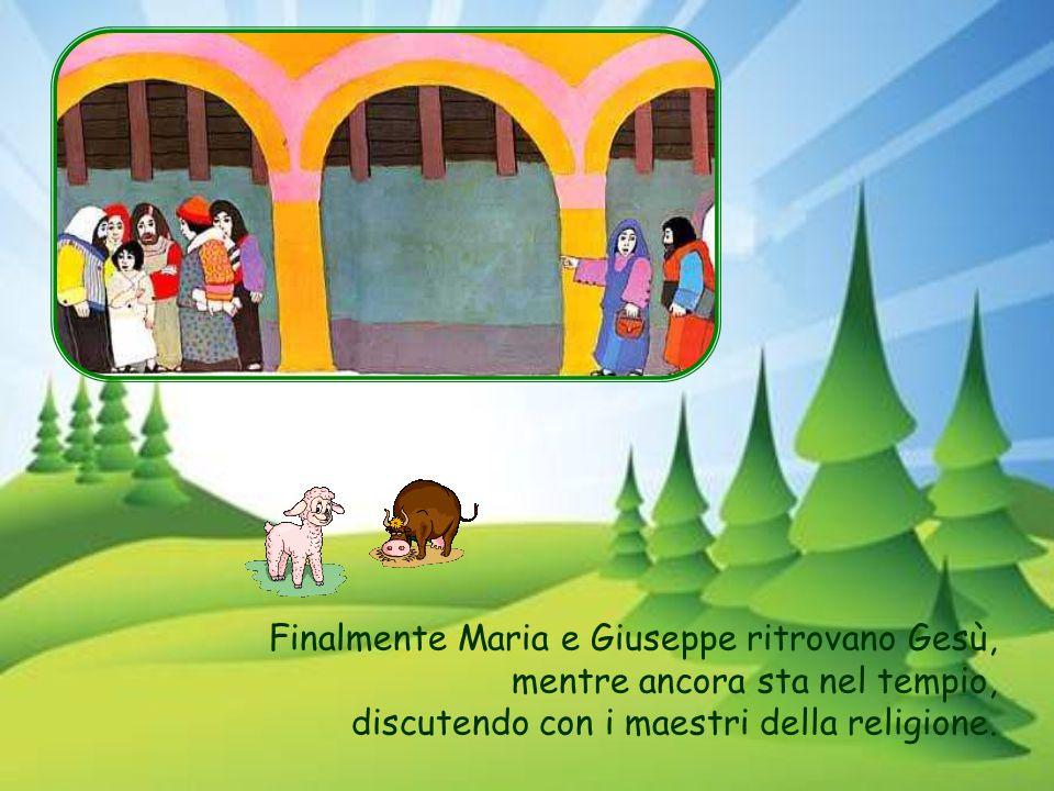 Finalmente Maria e Giuseppe ritrovano Gesù, mentre ancora sta nel tempio, discutendo con i maestri della religione.