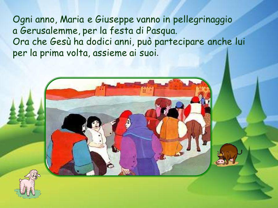 Ogni anno, Maria e Giuseppe vanno in pellegrinaggio a Gerusalemme, per la festa di Pasqua.