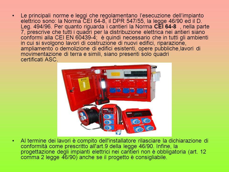 Le principali norme e leggi che regolamentano l'esecuzione dell'impianto elettrico sono: la Norma CEI 64-8, il DPR 547/55, la legge 46/90 ed il D. Leg. 494/96. Per quanto riguarda i cantieri la Norma CEI 64-8 , nella parte 7, prescrive che tutti i quadri per la distribuzione elettrica nei antieri siano conformi alla CEI EN 60439-4; è quindi necessario che in tutti gli ambienti in cui si svolgono lavori di costruzione di nuovi edifici, riparazione, ampliamento o demolizione di edifici esistenti, opere pubbliche,lavori di movimentazione di terra e simili, siano presenti solo quadri certificati ASC.