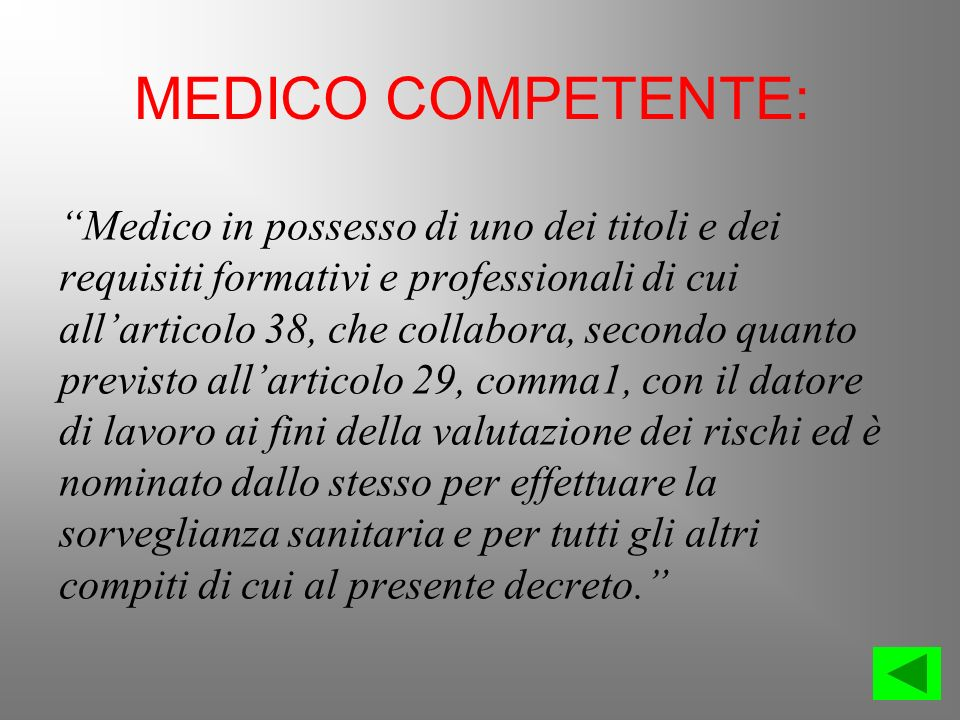 MEDICO COMPETENTE: