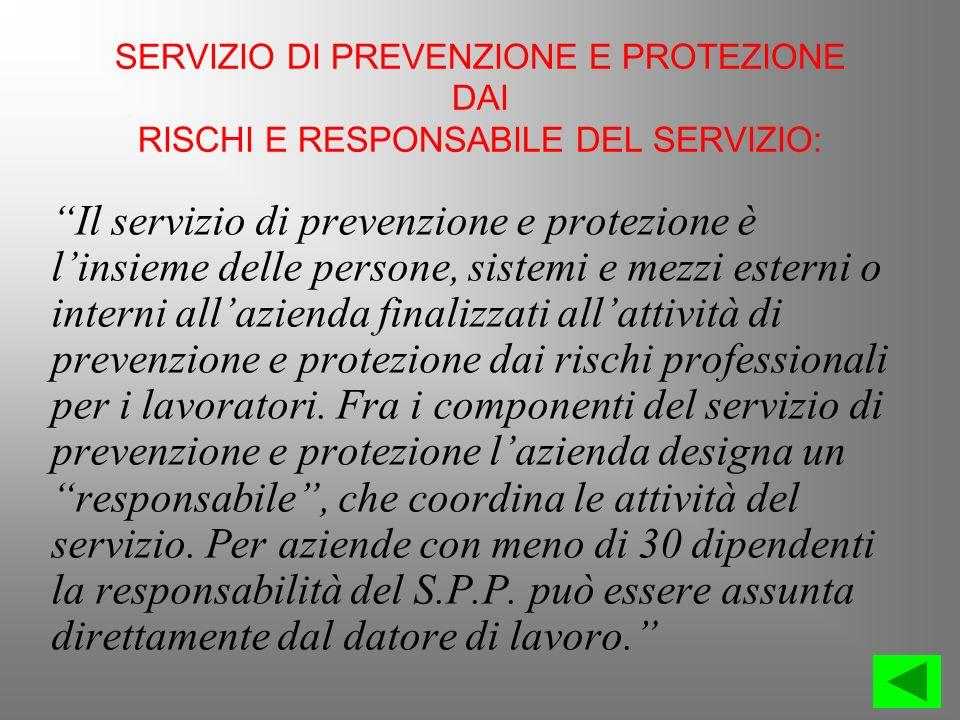 SERVIZIO DI PREVENZIONE E PROTEZIONE DAI RISCHI E RESPONSABILE DEL SERVIZIO: