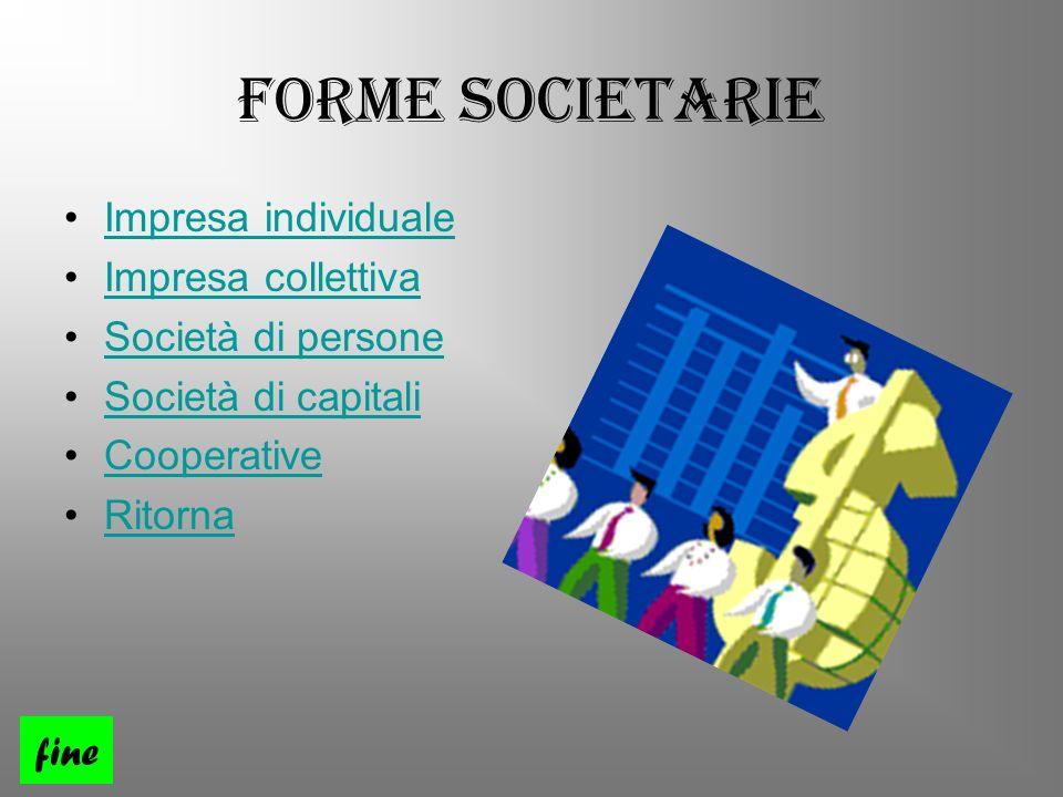 Forme Societarie Impresa individuale Impresa collettiva