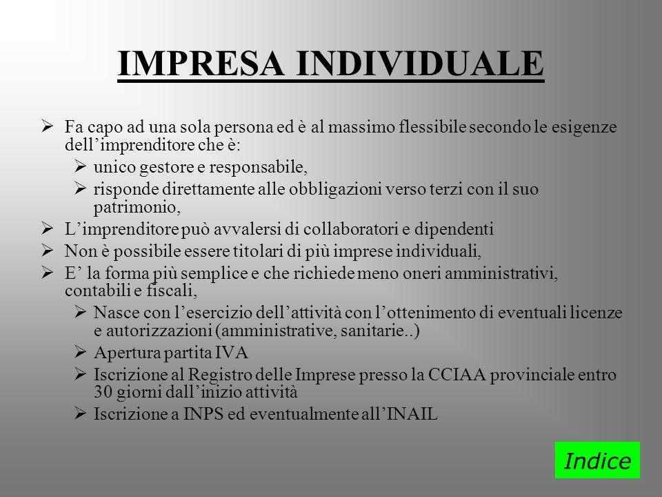 IMPRESA INDIVIDUALE Indice