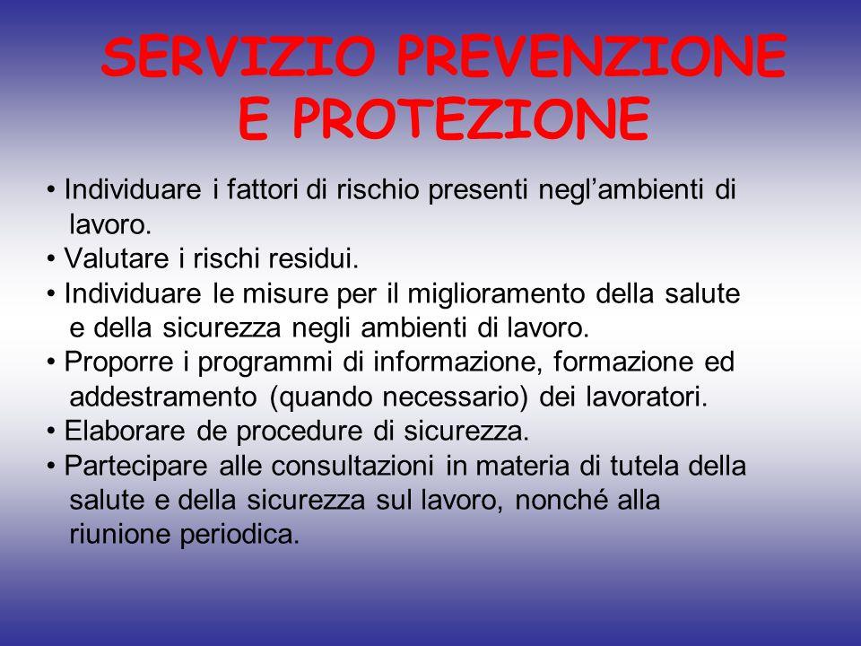 SERVIZIO PREVENZIONE E PROTEZIONE