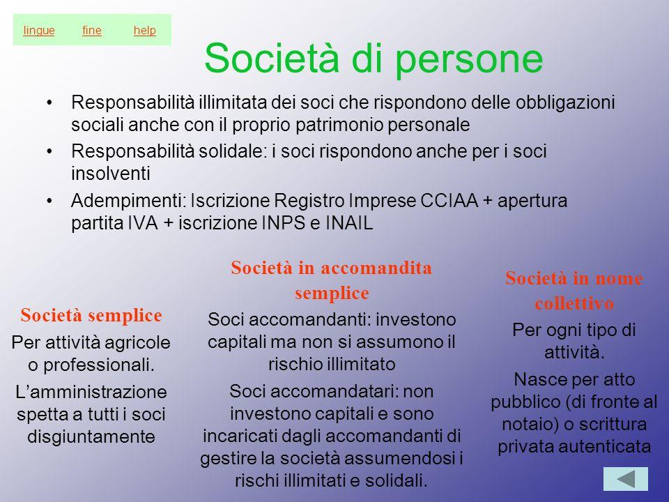Società in accomandita semplice Società in nome collettivo