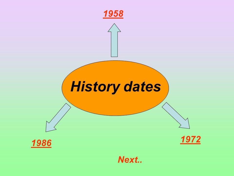1958 History dates 1972 1986 Next..