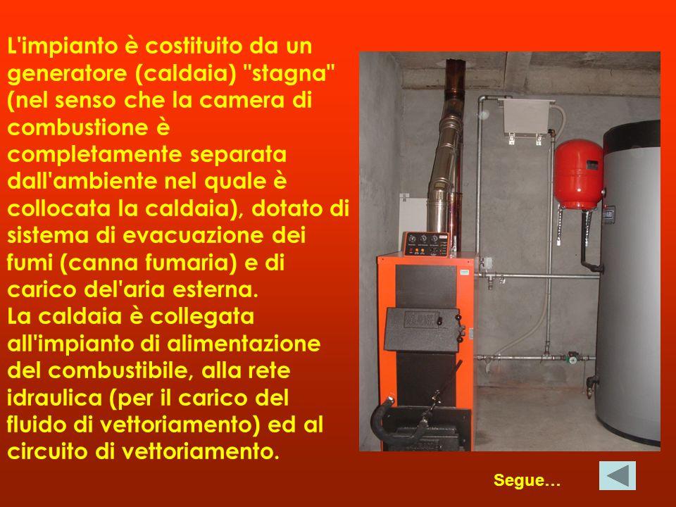 L impianto è costituito da un generatore (caldaia) stagna (nel senso che la camera di combustione è completamente separata dall ambiente nel quale è collocata la caldaia), dotato di sistema di evacuazione dei fumi (canna fumaria) e di carico del aria esterna. La caldaia è collegata all impianto di alimentazione del combustibile, alla rete idraulica (per il carico del fluido di vettoriamento) ed al circuito di vettoriamento.