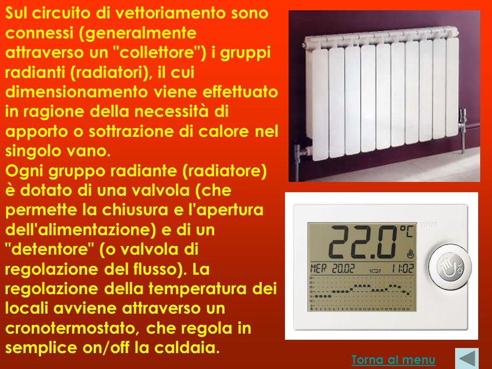 Sul circuito di vettoriamento sono connessi (generalmente attraverso un collettore ) i gruppi radianti (radiatori), il cui dimensionamento viene effettuato in ragione della necessità di apporto o sottrazione di calore nel singolo vano. Ogni gruppo radiante (radiatore) è dotato di una valvola (che permette la chiusura e l apertura dell alimentazione) e di un detentore (o valvola di regolazione del flusso). La regolazione della temperatura dei locali avviene attraverso un cronotermostato, che regola in semplice on/off la caldaia.