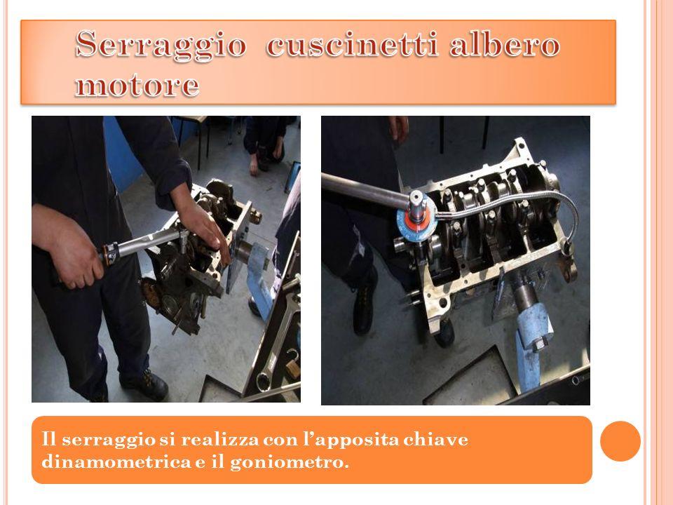 Il serraggio si realizza con l'apposita chiave dinamometrica e il goniometro.