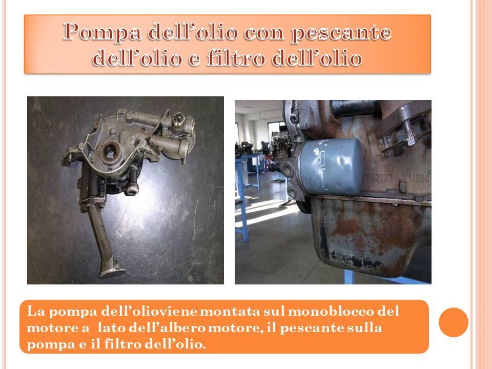 La pompa dell'olioviene montata sul monoblocco del motore a lato dell'albero motore, il pescante sulla pompa e il filtro dell'olio.
