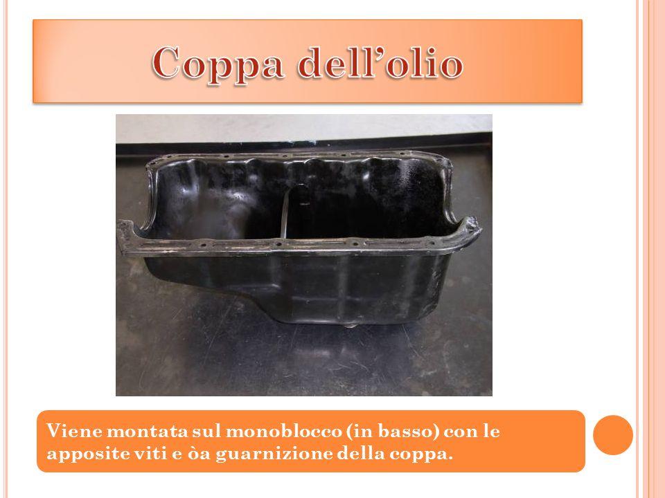 Viene montata sul monoblocco (in basso) con le apposite viti e òa guarnizione della coppa.