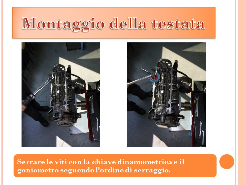 Serrare le viti con la chiave dinamometrica e il goniometro seguendo l'ordine di serraggio.