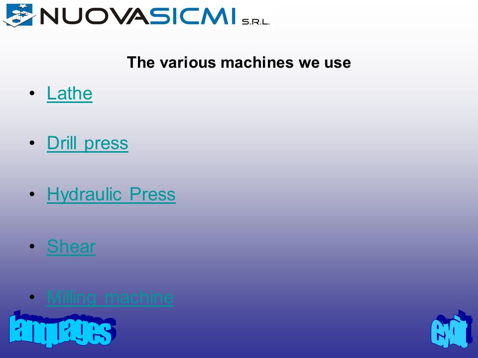 The various machines we use