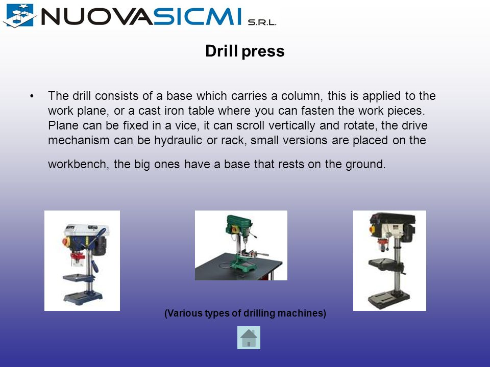 (Various types of drilling machines)
