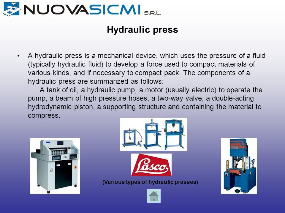 (Various types of hydraulic presses)