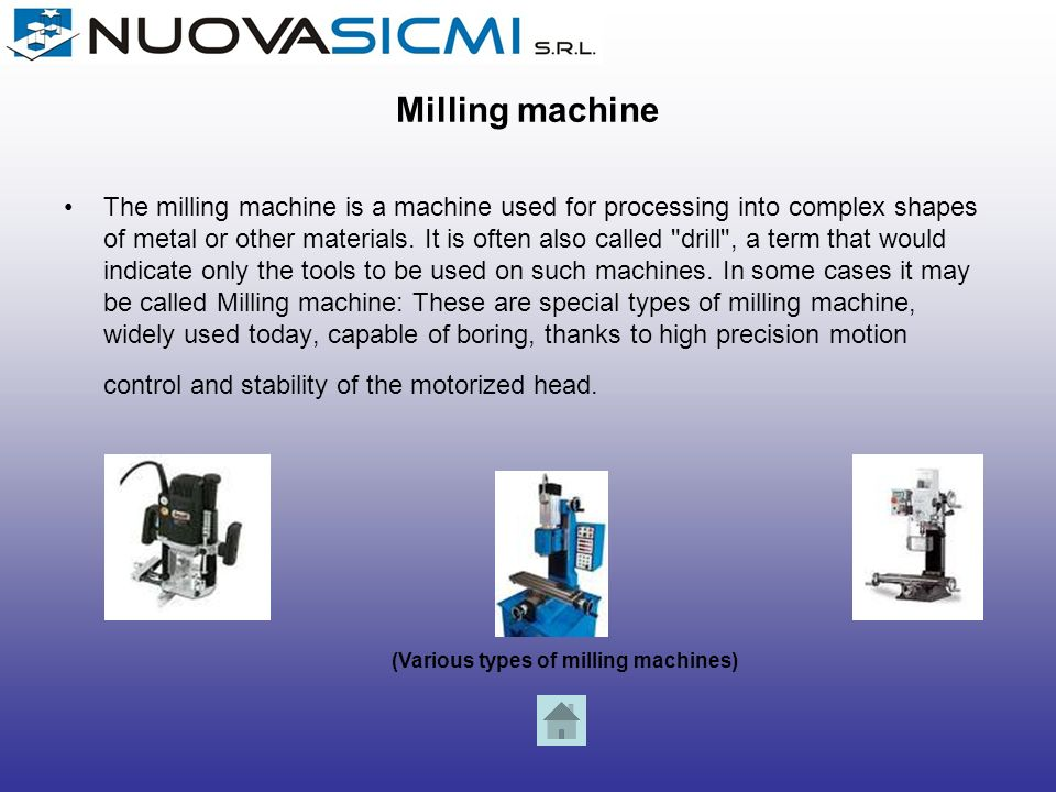 (Various types of milling machines)