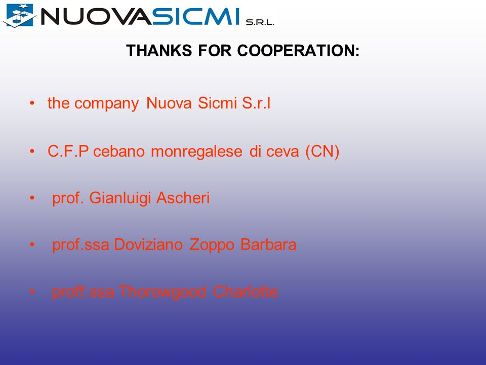 THANKS FOR COOPERATION: