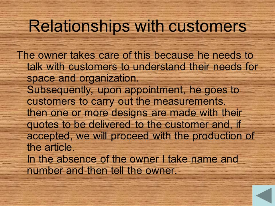 Relationships with customers