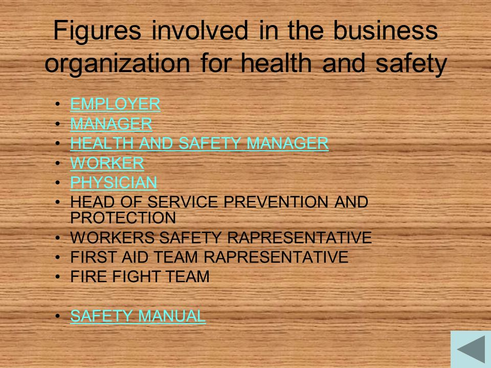 Figures involved in the business organization for health and safety