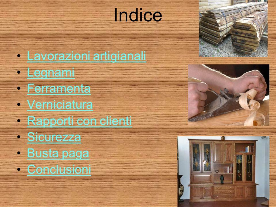 Indice Lavorazioni artigianali Legnami Ferramenta Verniciatura