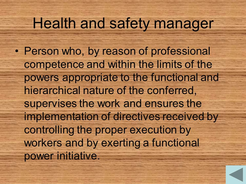 Health and safety manager