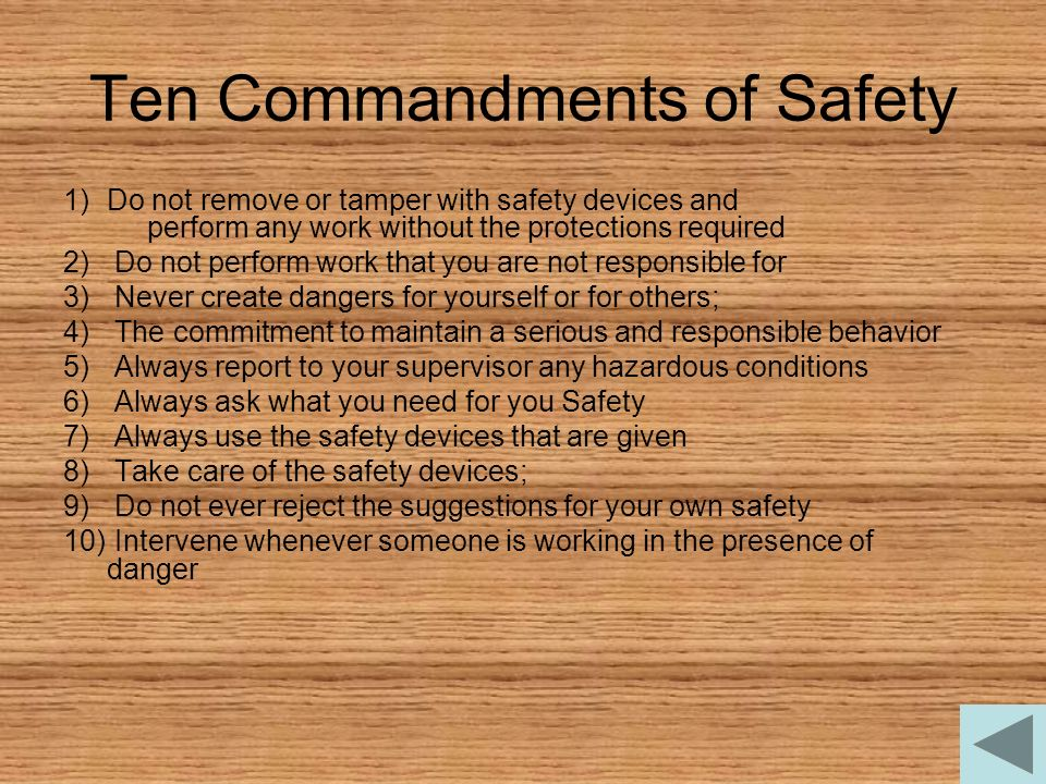 Ten Commandments of Safety