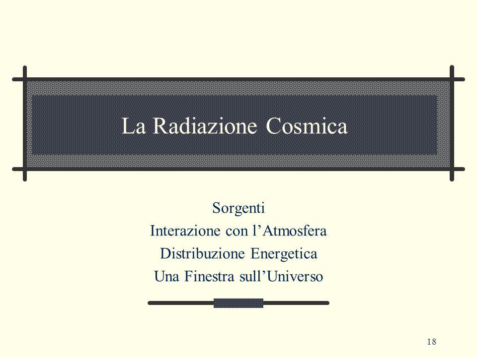 La Radiazione Cosmica Sorgenti Interazione con l'Atmosfera