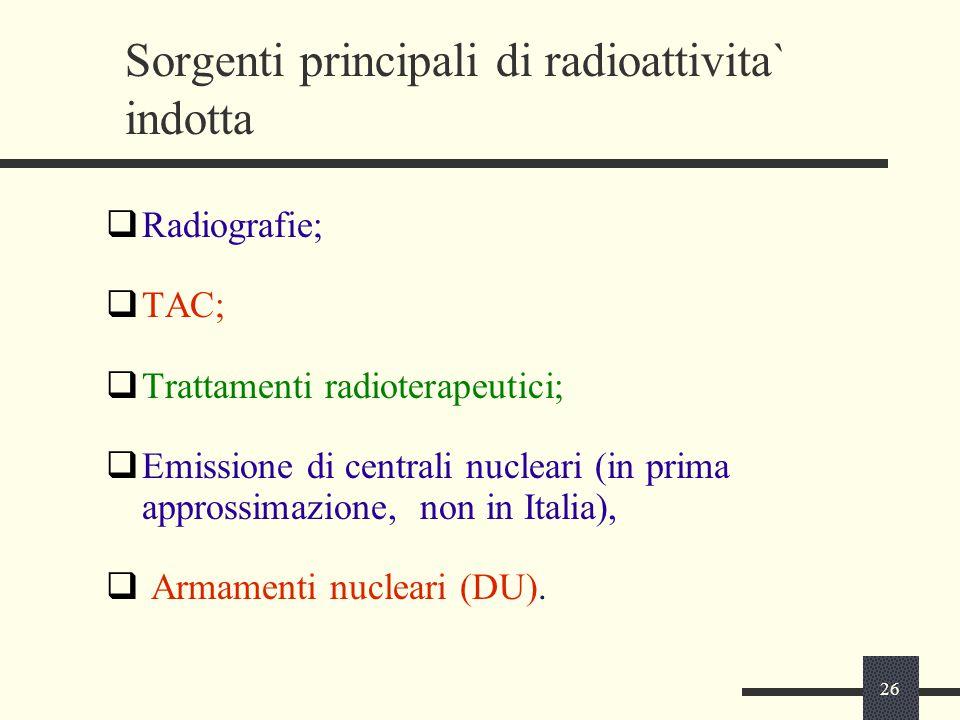 Sorgenti principali di radioattivita` indotta